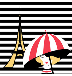 Fashion girl with umbrella in paris vector