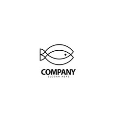 Fish logo design with monoline style vector