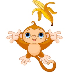 funny monkey trying to catch banana vector image