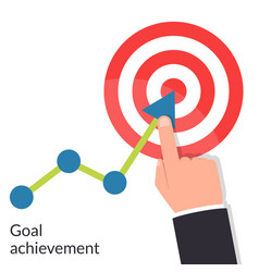 Goal achievement path chart to target successful vector