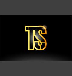 Gold black alphabet letter ts t s logo vector