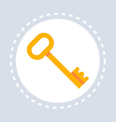 Golden vintage key icon lock safety concept flat vector