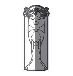 Grayscale silhouette of virgin with crown of roses vector