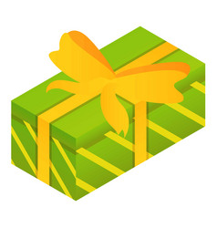 green gift box icon isometric style vector image
