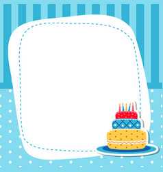 Greeting card with birhday cake greeting card vector