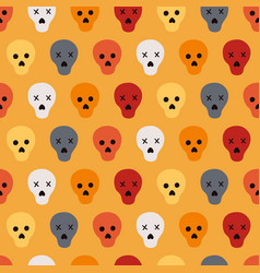 halloween seamless pattern with colorful skulls vector image