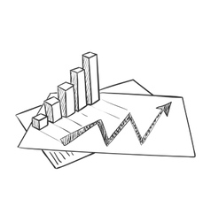 hand draw doodle business data market vector image