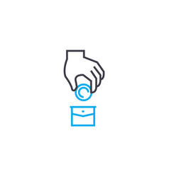 investment portfolio thin line stroke icon vector image