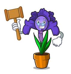 Judge iris flower mascot cartoon vector
