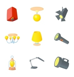 Lighting icons set cartoon style vector