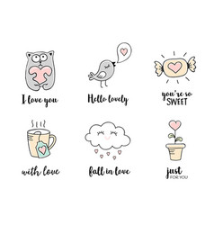 love doodles hand drawn valentines day quotes vector image