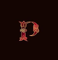 Luxury letter p decoration logo design concept vector