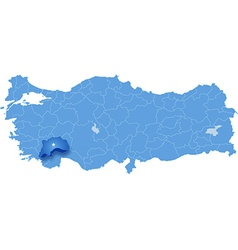 Map of Turkey Burdur vector