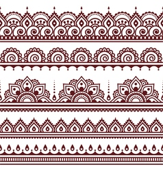Mehndi Indian Henna tattoo brown seamless pattern vector