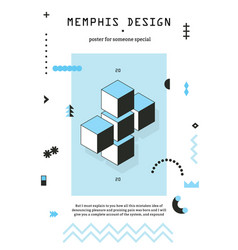 Memphis geometric design poster vector