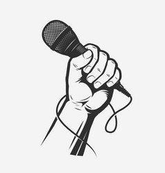 Microphone in hand song karaoke vector