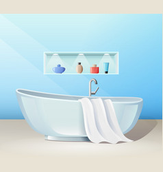 Modern bathroom interior with bath and accessories vector