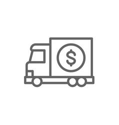money truck transfer cash banking car line icon vector image