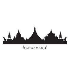 Myanmar landmarks skyline in black and white vector