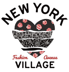New york village typography patchwork hearth vector
