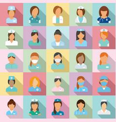 Nurse icons set flat style vector