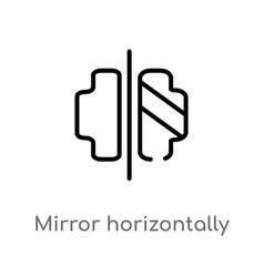 Outline mirror horizontally icon isolated black vector