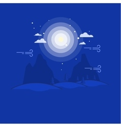 Outline mountain at night landscape vector image