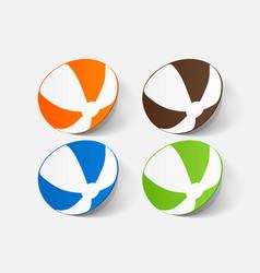 Paper clipped sticker beachball vector