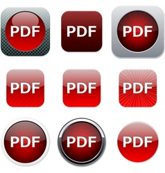 PDF red app icons vector image
