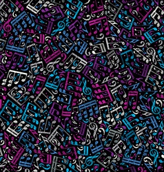 Pink and blue musical notes seamless pattern over vector image