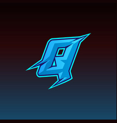 Q logo esport gaming initial with blue light vector