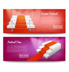 Red carpet stairs banners vector