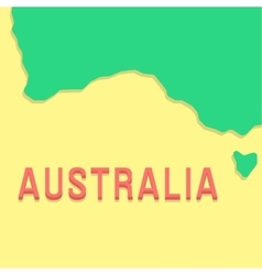 red inscription australia with part land vector image