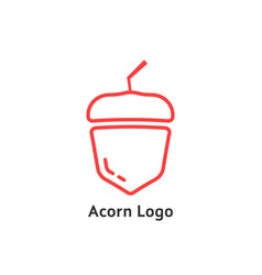 red thin line simple acorn icon vector image