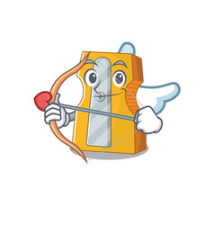 Romantic pencil sharpener cupid cartoon character vector