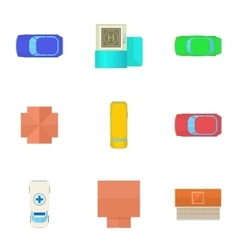 Roof transport icons set cartoon style vector