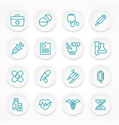 round blue medical icons vector image