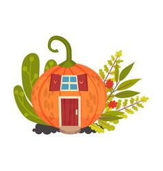 Round house made pumpkins halloween object vector