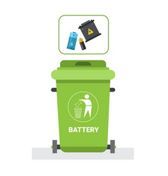 Rubbish container for batteries waste icon recycle vector