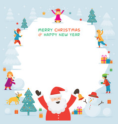 Santa claus with kids or children playing snow vector