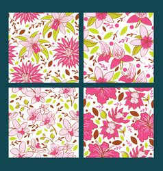 seamless pattern with flowers tropical flower vector image