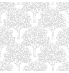 seamless pattern with orange trees vector image
