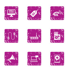 Search engine icons set grunge style vector