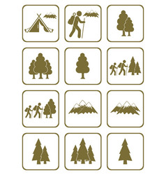 Set of hiking and natural areas icons vector