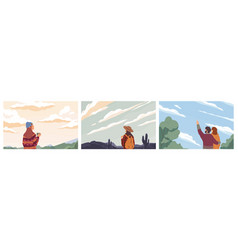 Set people looking at sky colored vector