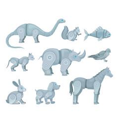 Set robots in form animals vector