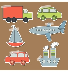 Set transport stickers for babies vector