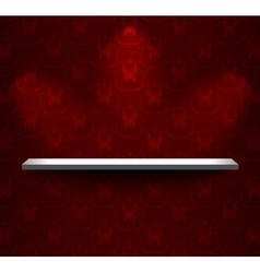 Shelf with red wallpaper vector image