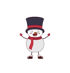 Snowman with hat and scarf isolated icon design vector