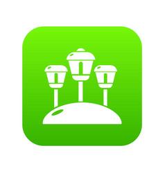 solar lamps garden light icon green vector image